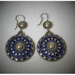 Silver Enamel Earrings